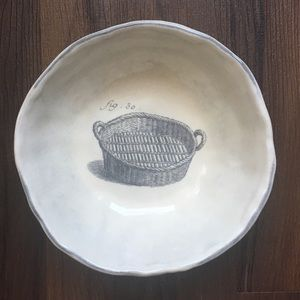 Anthropologie decorative bowl with basket 7""